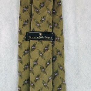 Ermenegildo Zegna Woven Silk Olive Green Neck Tie